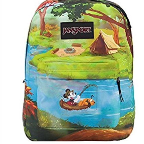 44a4a9ee1d8 Disney Mickey Pluto Fishing Jansport Backpack